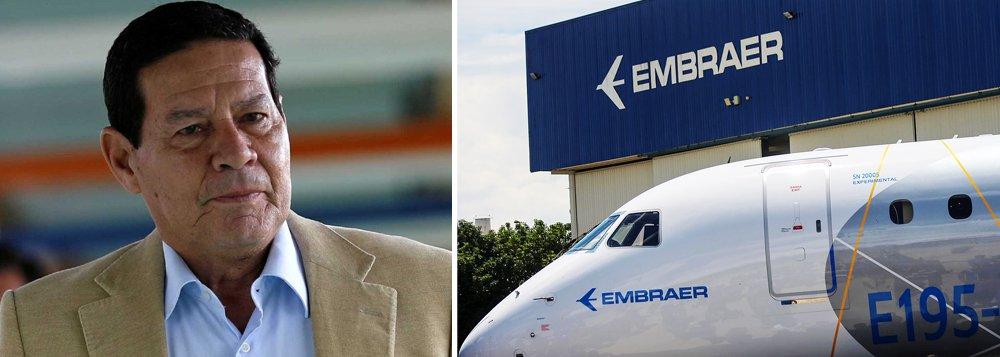 Mourão deu aval à venda da Embraer