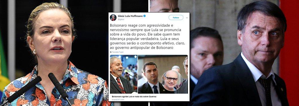 Gleisi sobre agressividade de Bolsonaro a Lula: ele sabe quem tem liderança popular verdadeira
