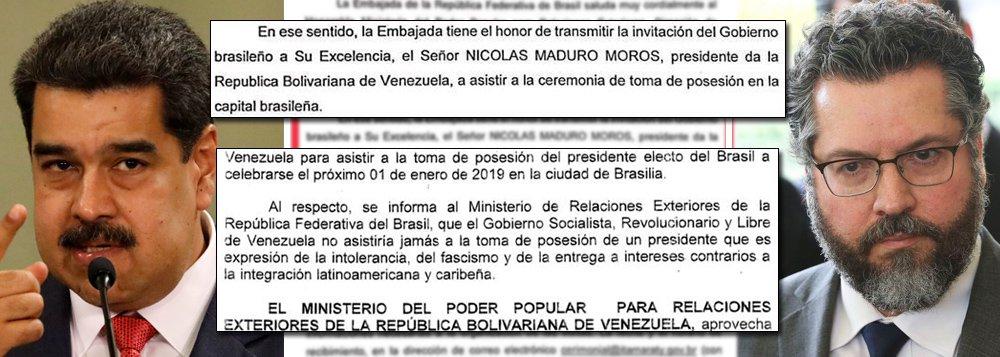 Venezuela e Itamaraty provam: chanceler de Bolsonaro mentiu