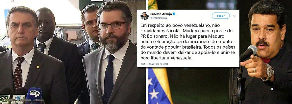 Chanceler de Bolsonaro diz que Maduro não será convidado para posse
