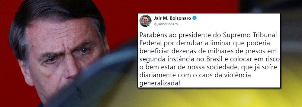 Com medo que Lula lidere oposição, Bolsonaro comemora decisão de Toffoli