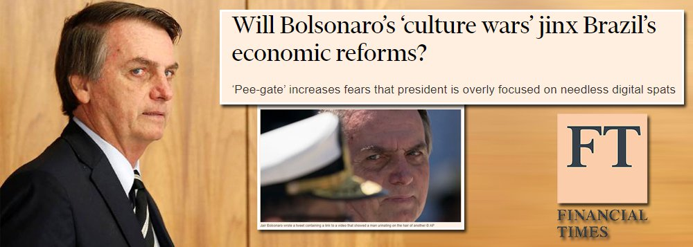 'Xixi-gate' de Bolsonaro ameaça implantação de reformas no Brasil, diz FT
