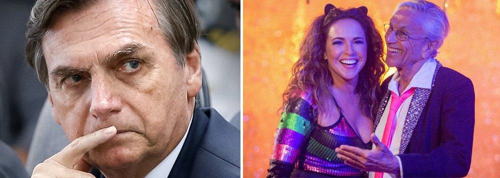 Em pleno Carnaval, Bolsonaro ataca Caetano e Daniela Mercury