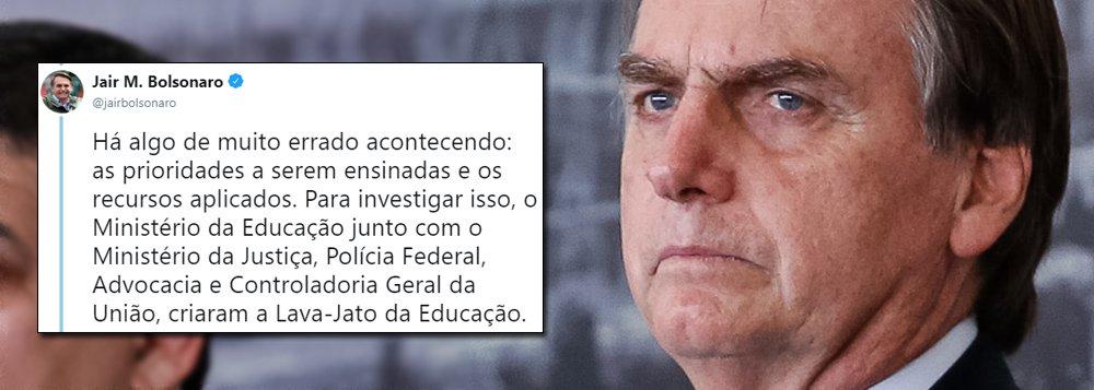 Bolsonaro volta às redes para anunciar perseguição e Lava Jato da Educação