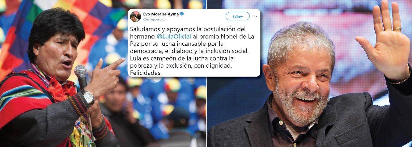 No Twitter, Morales comemora indicação de Lula ao Nobel da Paz