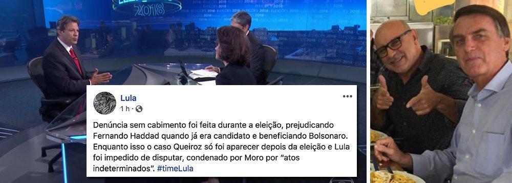 Lula: Judiciário fez denúncia vazia contra Haddad na eleição e escondeu caso Queiroz