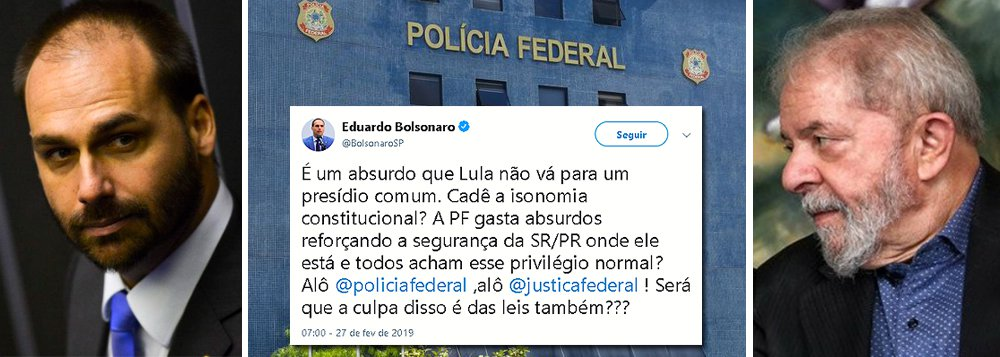Filho de Bolsonaro pressiona para que Lula vá para prisão comum