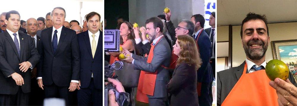 No Congresso, Bolsonaro evita imprensa e é recebido com laranjas