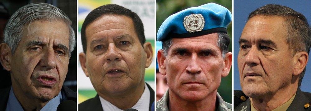 Junta militar assume o poder: Heleno, Mourão, Cruz e Villas-Bôas