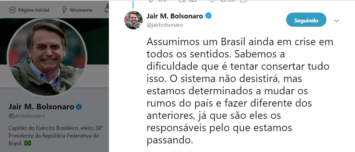 Em tempos de laranjal do PSL e Bebianno, Jair Bolsonaro se exime e responsabiliza 'o sistema'