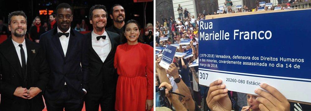 Wagner Moura segura placa com o nome de Marielle no Festival de Berlim