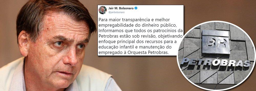 Bolsonaro anuncia corte dos patrocínios culturais da Petrobrás
