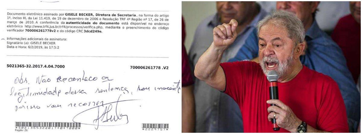 De próprio punho, Lula rejeita condenação: não reconheço, sou inocente