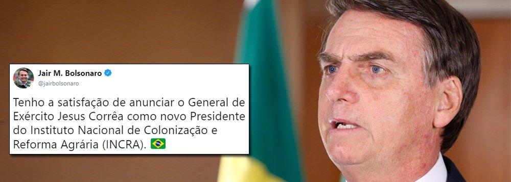 Bolsonaro nomeia general presidente do Incra