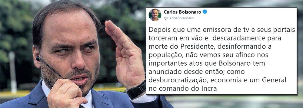 Carlos Bolsonaro insinua que Globo torceu pela morte do pai