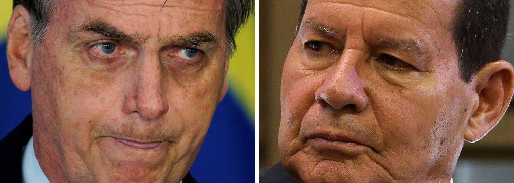 Governo trava com desconfiança dos Bolsonaro em relação a Mourão