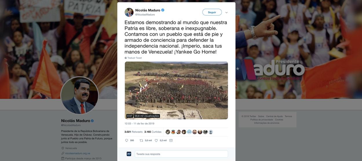 Maduro apela ao 'império': somos soberanos, tire suas mãos da Venezuela