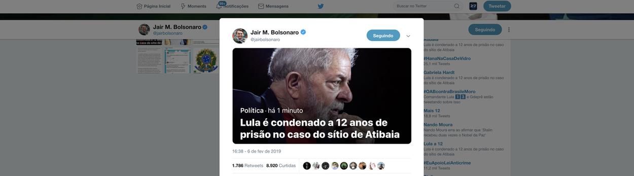 Mesmo no hospital, Bolsonaro repercute condenação de Lula
