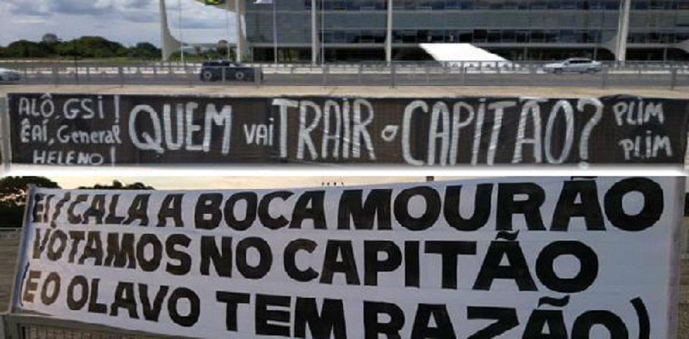 'Minions' penduram faixas contra Mourão e Heleno em frente ao Palácio