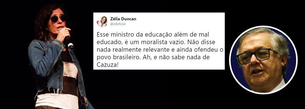 Zélia Duncan: ministro da Educação é mal-educado e vazio
