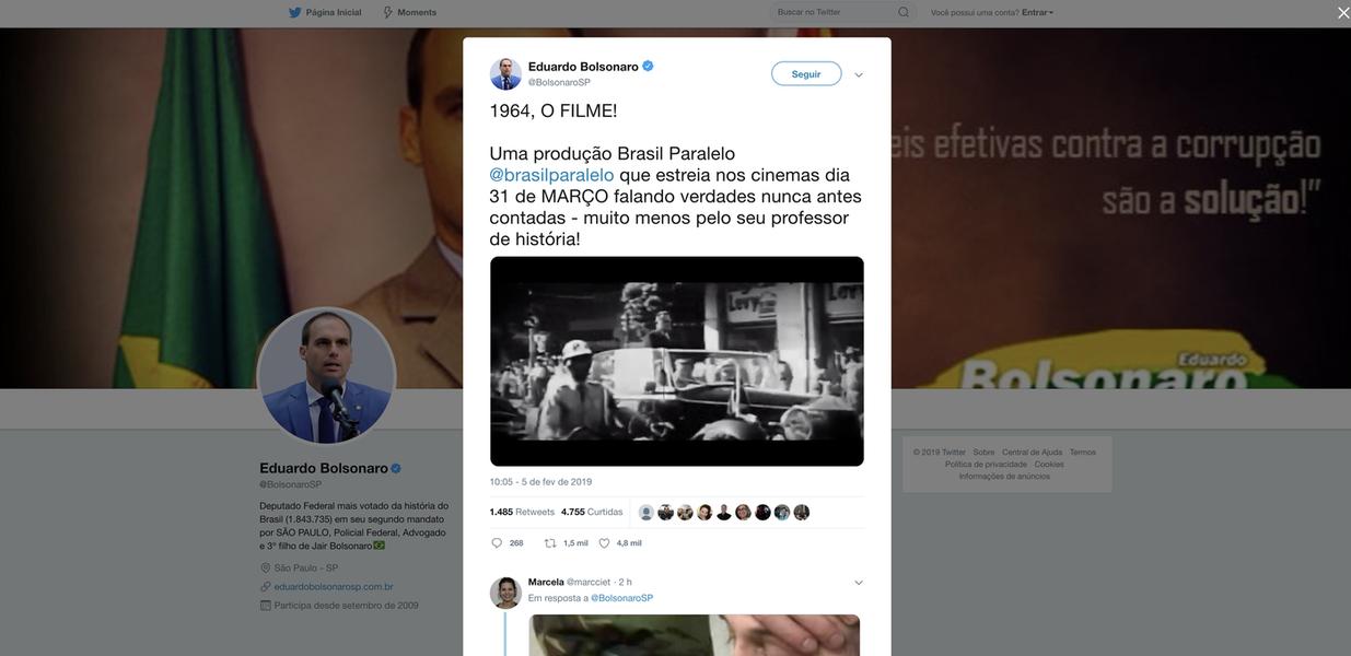 Eduardo Bolsonaro divulga filme que exalta golpe de 64