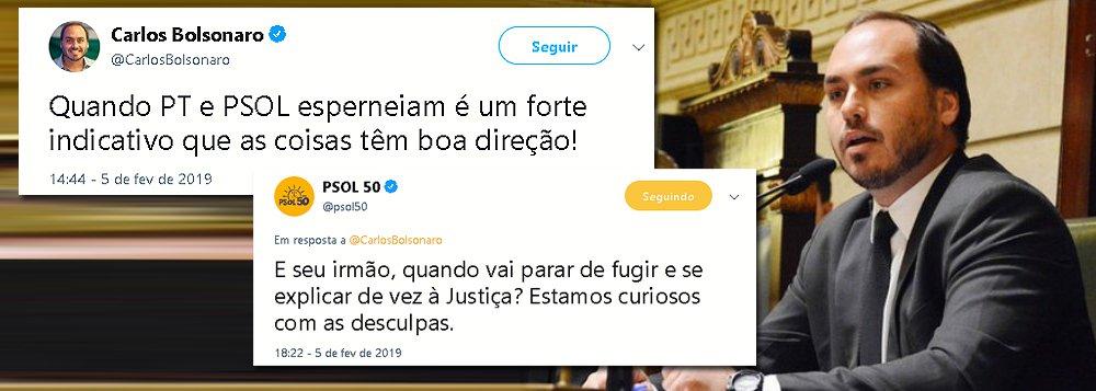 PSOL questiona Carlos Bolsonaro que foge de explicar caso Queiroz
