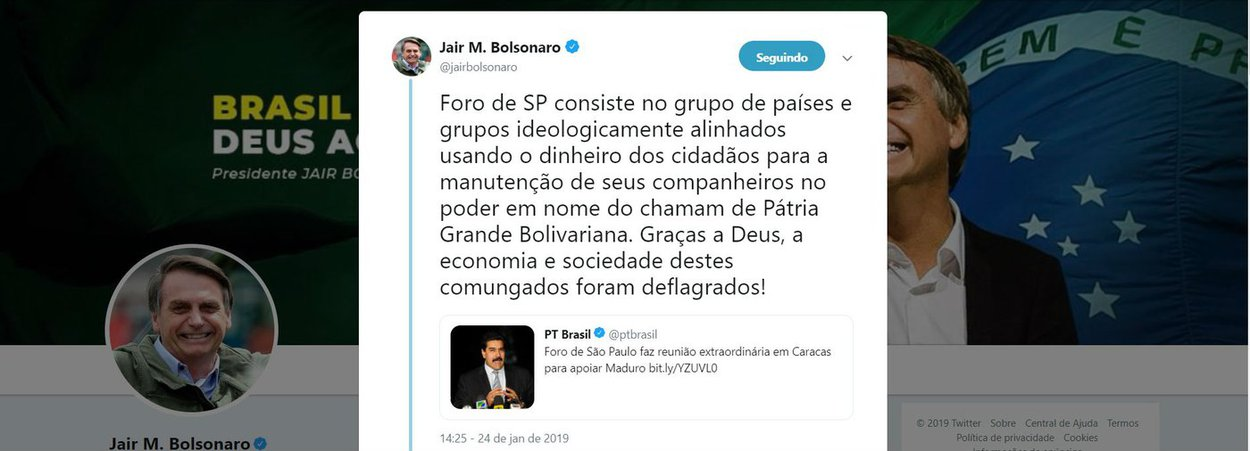 Bolsonaro usa tuíte do PT  de 2013 para atacar Foro de SP