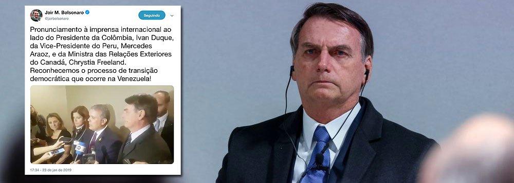 Após fugir de coletiva, Bolsonaro defende golpe na Venezuela