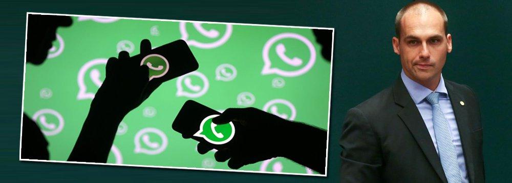 Eduardo Bolsonaro critica medida do WhatsApp de combate a fake news