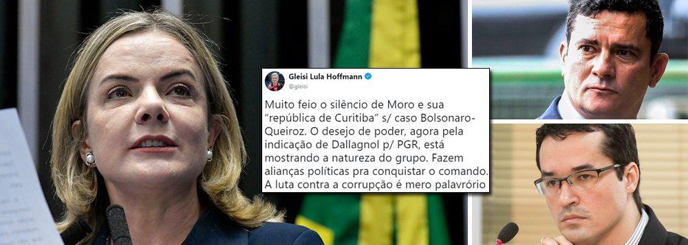 Gleisi: muito feio o silêncio de Moro sobre o caso Bolsonaro-Queiroz