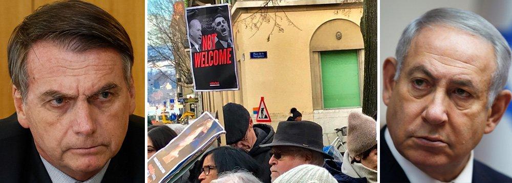 Escracho e protesto em Davos para Bolsonaro e Netanyahu