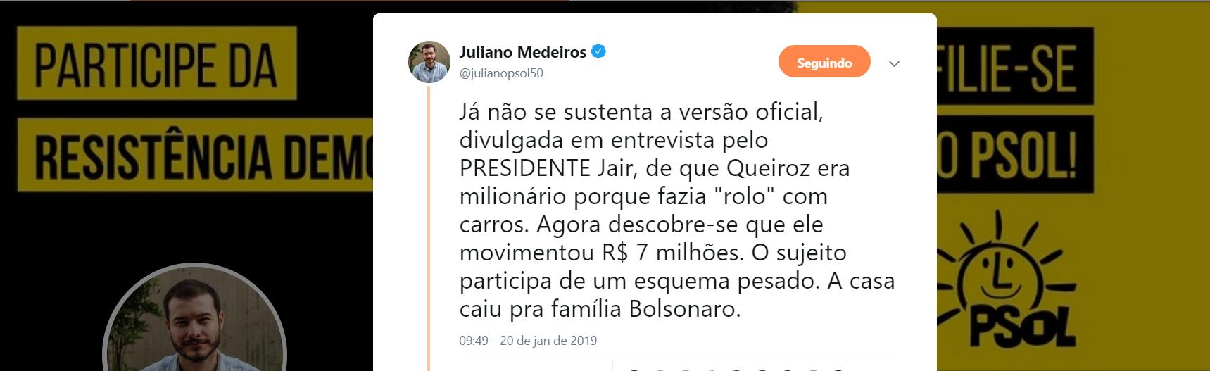 Juliano Medeiros: a casa caiu pra família Bolsonaro