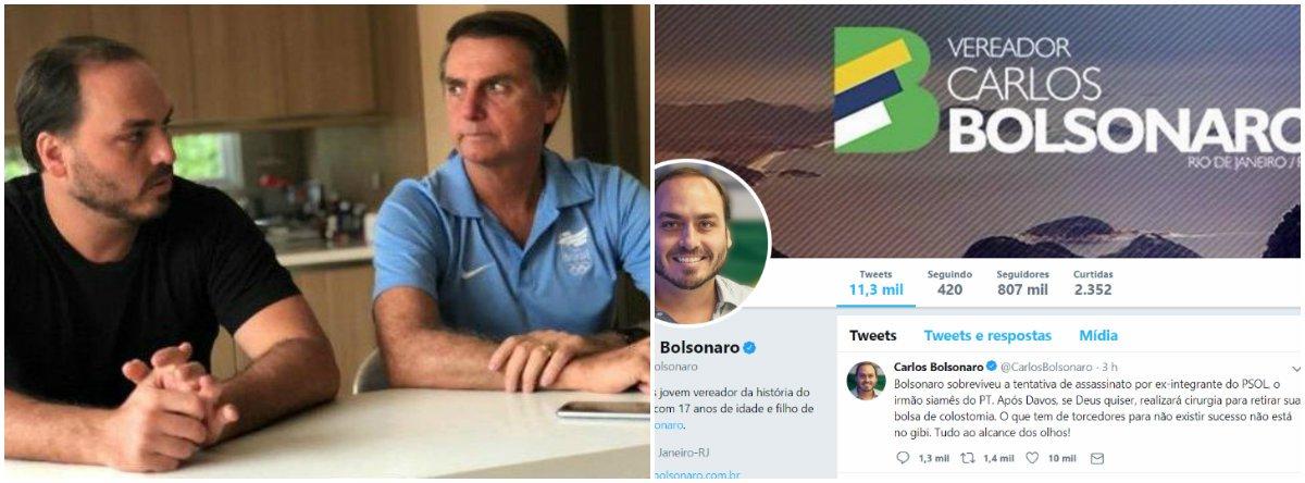 Carlos Bolsonaro volta a insinuar que querem a morte de seu pai