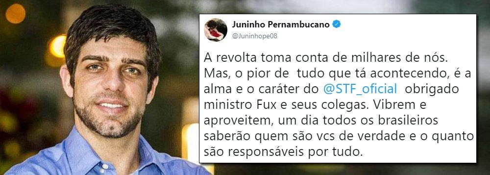 Pelo Twitter, Juninho Pernambucano expressa revolta com decisão de Fux