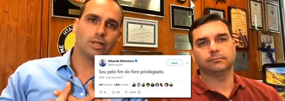 Flávio Bolsonaro, que agora apela ao foro, defendia o fim do foro privilegiado