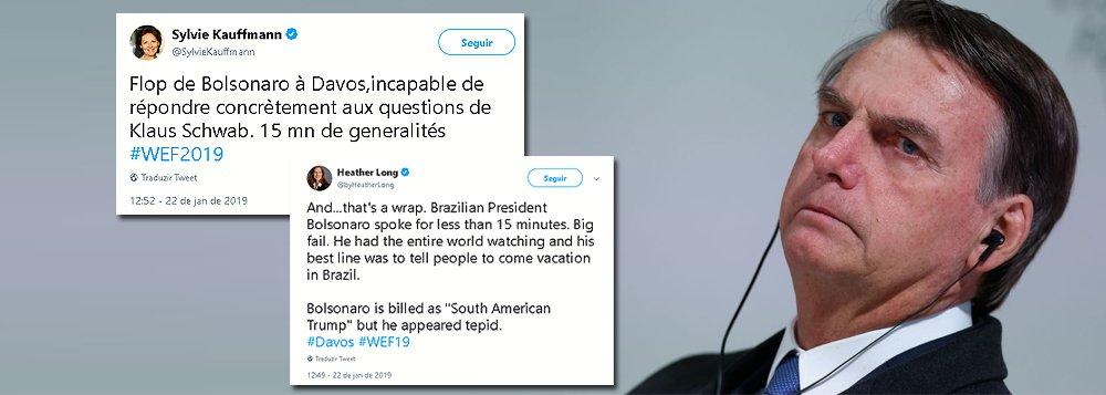 """Imprensa mundial fala em """"grande fracasso"""" de Bolsonaro em Davos"""