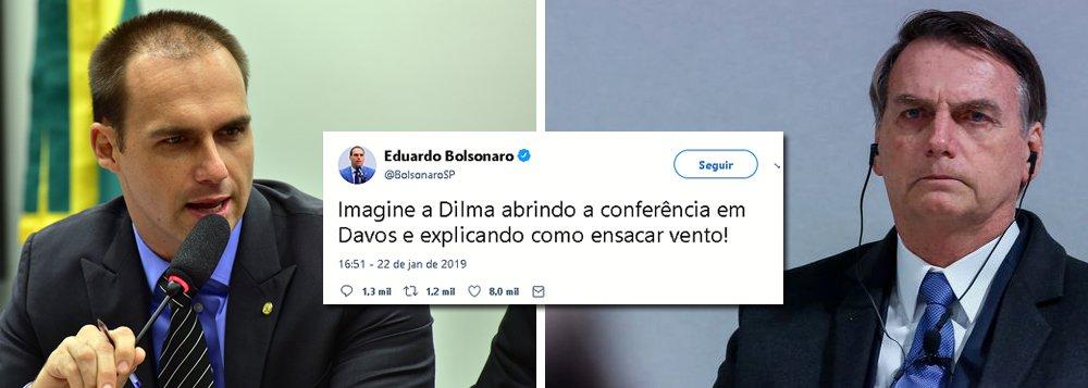 Eduardo Bolsonaro ataca Dilma após fiasco do pai