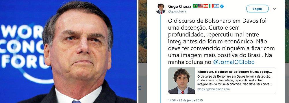 Guga Chacra: minúsculo, discurso de Bolsonaro é uma decepção em Davos