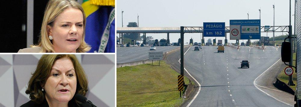 Gleisi e Miriam denunciam aumento dos combustíveis e pedágio nas estradas