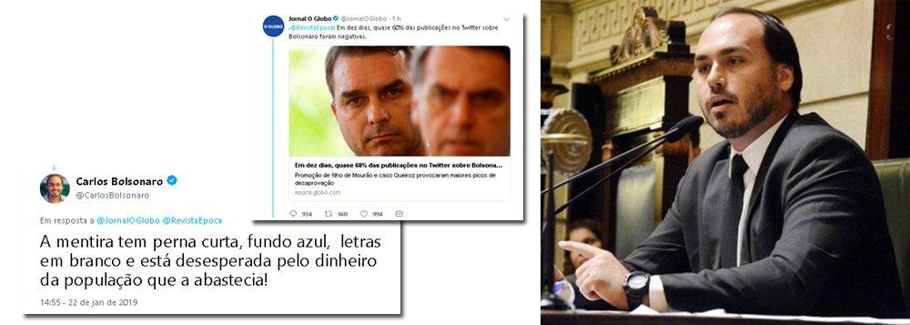 Sem explicar ligação com milícias, Carlos Bolsonaro diz que Globo quer dinheiro