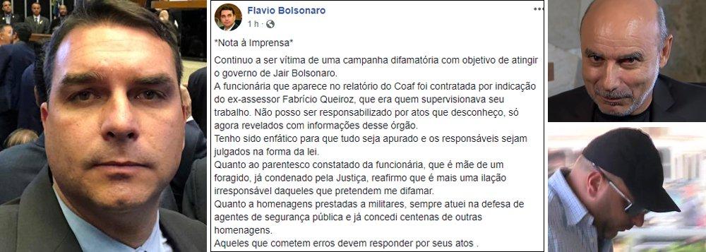 Cada vez mais enrolado, Flávio Bolsonaro diz que não sabe nada de nada