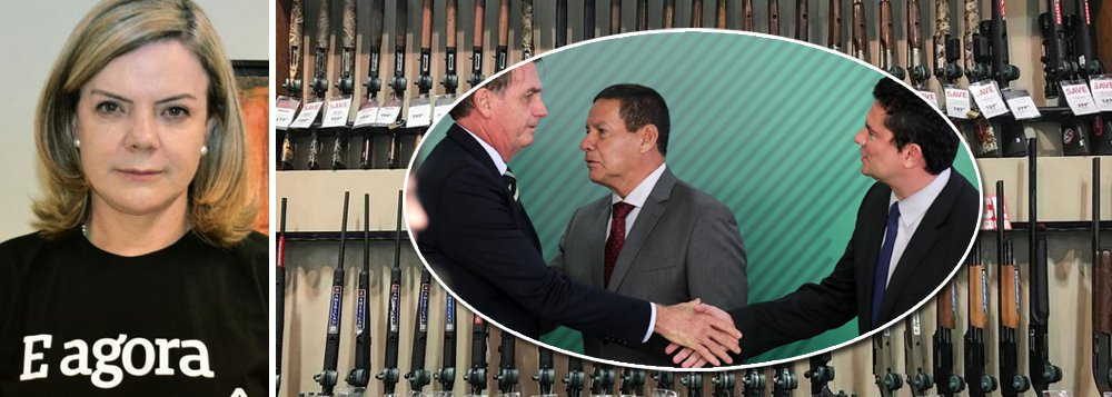 "Gleisi: Bolsonaro e Moro são ""irresponsáveis"" e aumentarão violência"