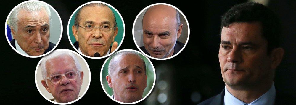 Temer, Moreira Franco, Padilha, Queiróz, Lorenzoni. Cadê o Moro?