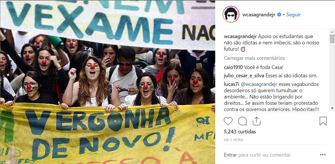 Casagrande rebate Bolsonaro: estudantes são o nosso futuro