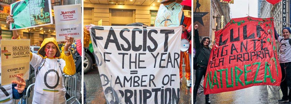 Manifestantes protestam em Nova York contra homenagem a Bolsonaro