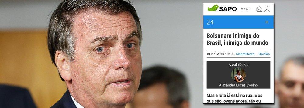 Bolsonaro inimigo do Brasil, inimigo do mundo, diz site de Portugal