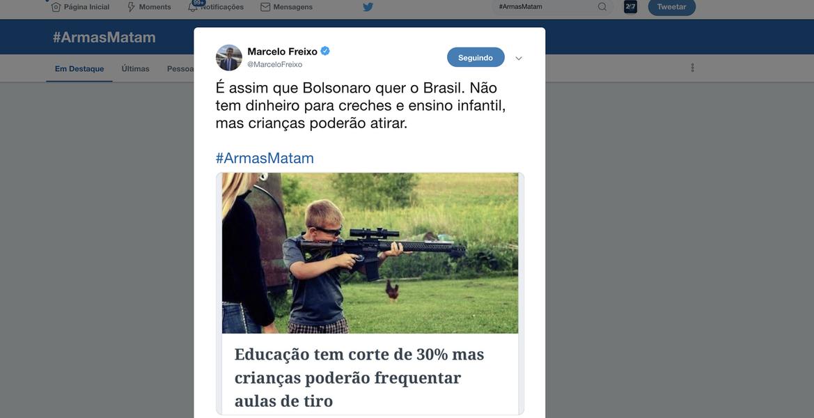 #ArmasMatam lidera os temas mais comentados do Twitter