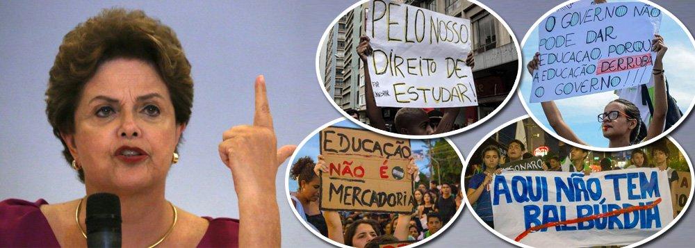 Dilma chama protestos contra desmonte na educação