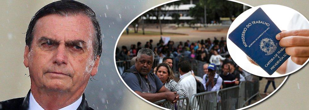 Desemprego salta 10% no primeiro trimestre de Bolsonaro e chega a 13,4 milhões de pessoas