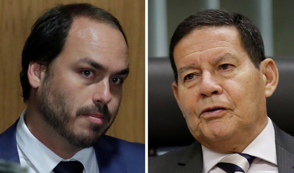Carlos Bolsonaro não comparece a sessão em homenagem a Mourão
